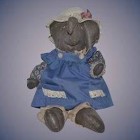 Vintage Doll Artist Elephant Oil Cloth Doll Dressed