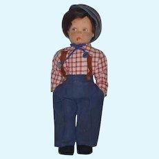 Old Doll Lenci Cloth Doll Smoker W/ Original Tag