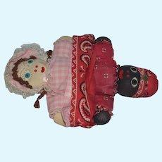 Vintage Doll Cloth Doll Topsy Turvy Black Doll White Doll Stockinette Unusual