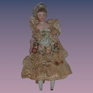 Old Doll Miniature Dollhouse Lady Fancy Clothes Original Clothing?