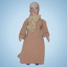 Wonderful Doll Old Miniature All Bisque Jointed W/ Swivel Neck Dollhouse