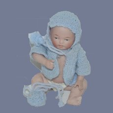 Antique Doll Miniature All Bisque Character Baby Jointed Miniature