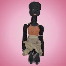 Vintage Doll Artist Black Carved Wood Doll Jointed Unusual