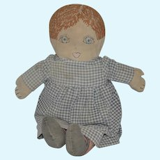 Old Cloth Doll Rag Doll Sewn On Features Adorable