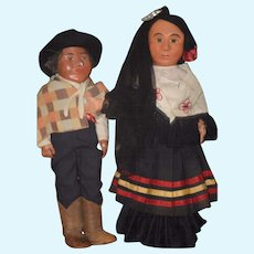 Wonderful Old WPA Doll Set Dolls Oil Cloth W/ Provenance Boy and Girl RARE Large Size