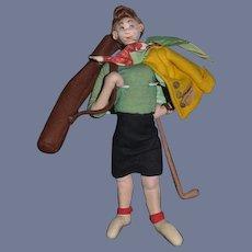 Wonderful Roldan Cloth Doll Felt Doll From Spain Lady Golfer Orig. Tag
