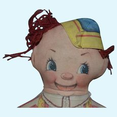 Old Doll Cloth Rag Doll Character Printed Face Clown
