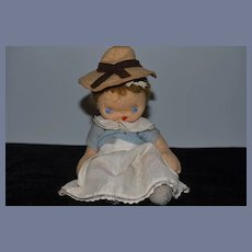 Old Doll English Cloth Baby Doll  Felt Jointed Star Hands