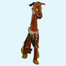 Vintage Doll Toy Lenci Giraffe w/ Googly Eyes Italian Velveteen Unusual Character Cloth W/ Tag