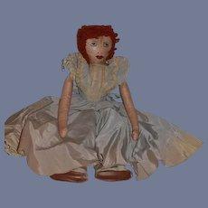 Wonderful Old Cloth Doll Rag Doll Oil Cloth Doll Unusual Fancy Clothing