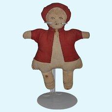 Old Doll Cloth Doll Sewn Features Folk Art Rag Doll
