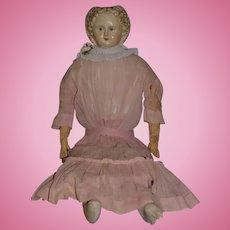 "Antique Doll Greiner Original Tag Large Papier Mache Paper Mache Unusual Face Cloth Doll 30"" Tall No. 9"