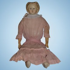 "Antique Doll Greiner Original Tag Large Papier Mache Paper Mache Unusual Face Cloth Doll 30"" Tall No. 9"