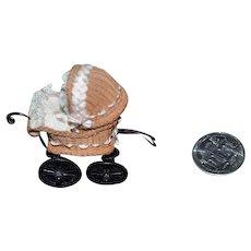 Wonderful Doll Miniature Carriage Wicker Marie Terrones W/ Tag Pram Buggy Stroller