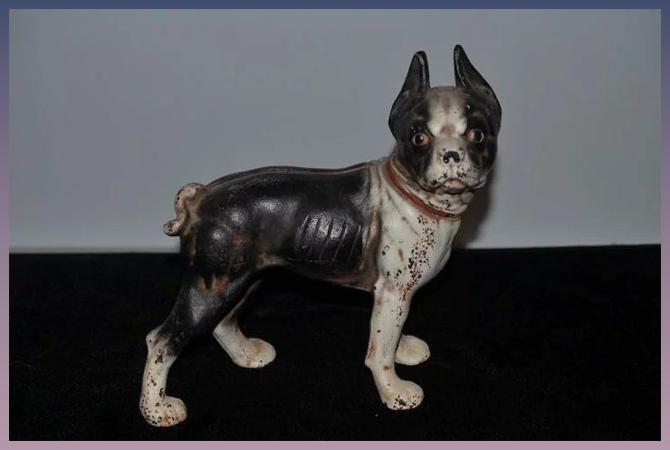 Old Hubley Boxer Cast Iron Door Stop Dog Adorable Doorstop