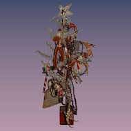 Old Miniature Doll Christmas Tree with Old Ornaments Feather Tree