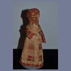 Old Doll Folk Art Cloth Doll Rag Doll Broom Doll Unusual Sewn Features Primitive