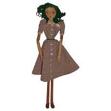 Vintage Doll Wood Carved Jointed Pegged LARGE Unusual Lady Doll