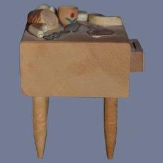 Vintage Doll Wood Cutting Board Food Table W/ Food Miniature Dollhouse Bakers Block