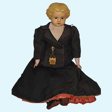 Antique Doll LARGE Wax over Papier Mache FAB Clothes and Undergarments 26""