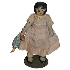 Old Doll Wood English Chunky Jointed Carved Painted W/ Wood Baby Jointed