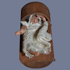 Old Doll Wood and cloth Doll Miniature in Cradle