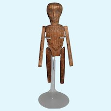 Old Doll Wood Carved Jointed Unusual Detailed Folk Art