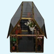 Miniature Glass Green House Garden Room Glass & Brass Flowers Dollhouse Adorable Flower Store