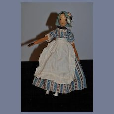 """Wonderful Wood Carved Jointed Artist Doll Alice Wainwright """"Polly"""" Carved Fancy Bun Signed"""