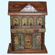 Antique Doll Bliss Wood and Litho  Two Story Dollhouse W/ Miniature Furniture