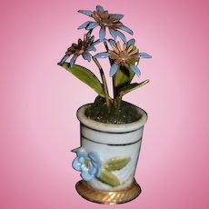 Old Miniature Doll Porcelain Flower Pot with Enamel Flowers Dollhouse