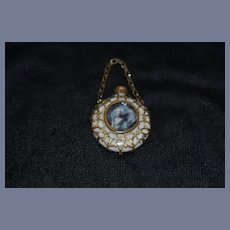 Antique Doll Miniature Perfume Bottle With Portrait and Fancy Gold Work W/ Chain French Fashion