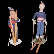 Old Doll Set Carved Wood Dolls Skiers Signed Unusual Hilda Ege