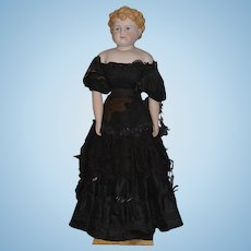 """Old Doll Large Bisque Parian China Head BIG! Gorgeous Clothing Turned Head 34"""" Tall"""