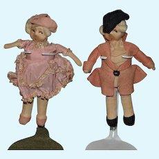 Old French Cloth Doll Set Miniature Fancy Felt Doll