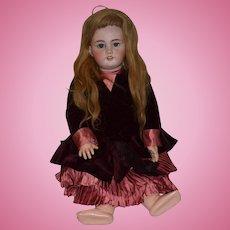 "Antique Doll TeTe Jumeau French Bisque Doll Big Girl Cork Pate Human Hair Wig 26"" Tall"