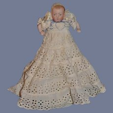 Old Doll Miniature All Bisque Baby Doll Jointed FAB Old Clothes