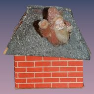 Old Miniature Santa Claus Candy Container Santa Coming out of House