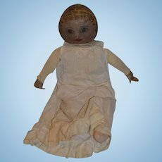 """28"""" Large Antique Early American Folk Art Oil Cloth Rag Doll Hand Painted"""