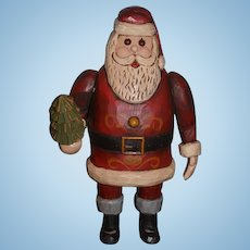 Wonderful Santa T. Lipman Carved Wood Santa Claus Signed Jolly St. Nick