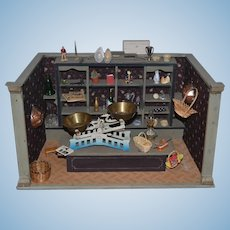 Old Doll Miniature Wood Room Box Store Diorama Dollhouse Filled W/ Miniatures