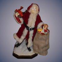 Wonderful Vintage Doll Artist Santa Signed Iris B W/ Bag full of Goodies and a Train