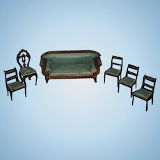 Antique Doll Miniature Biedermeier Sofa Chairs Fancy Dollhouse Upholstered Wood