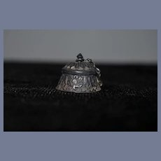 Antique Miniature Doll Vanity Jar Repousse W/ Chain lid For French Fashion