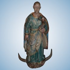 """Old Carved Santos Figurine Large Statue W/ Baby Ornate Wood Painted 28"""" Religious Icon"""