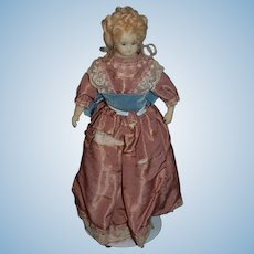 Wonderful Vintage Wax Doll  Artist Doll Turned Head Glass Eyes