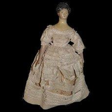 Antique Doll Milliner's Model Fancy Hair Style Wood Carved Papier Mache Paper