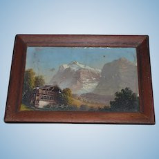 Antique Doll Miniature Oil Painting in Wood Frame For Dollhouse Landscape