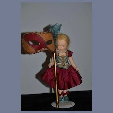 Wonderful Doll R. John Wright Musette Candy Container & Mask Made For UFDC