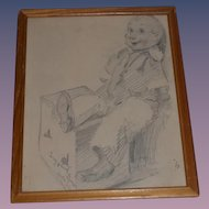 Wonderful Old Sam Warshaw Pencil Drawing Artist Pinocchio Picture W/ Provenance